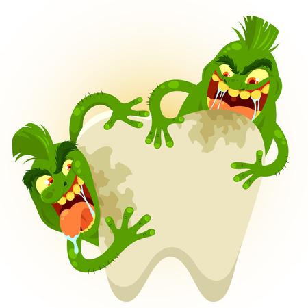 dientes sucios: gérmenes de dibujos animados destruyendo un diente