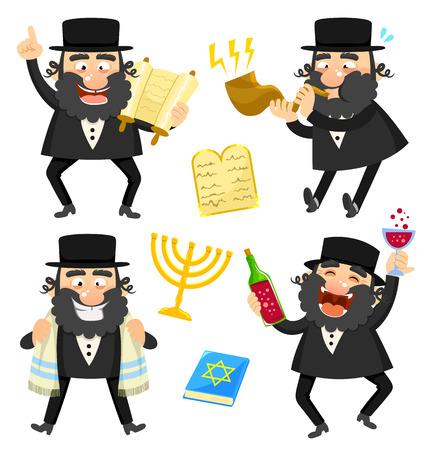 set van cartoon rabbijnen en joodse symbolen