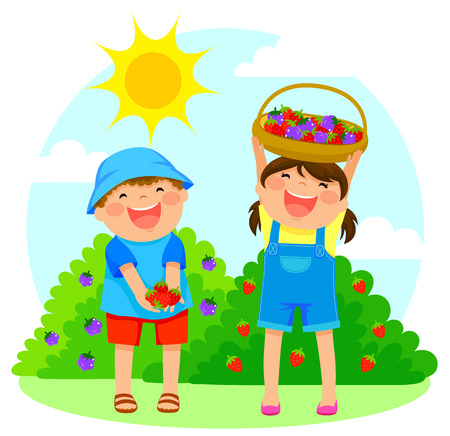 strawberry: happy kids collecting fruit