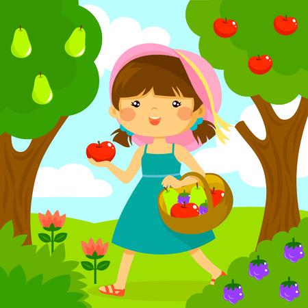 frutas divertidas: linda niña recogiendo fruta de los árboles