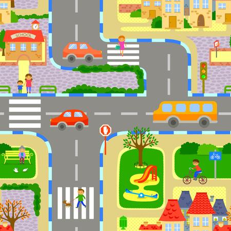 naadloze beeld van een levendige stad Stock Illustratie