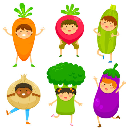 comiendo frutas: Los ni�os vestidos como los vegetales