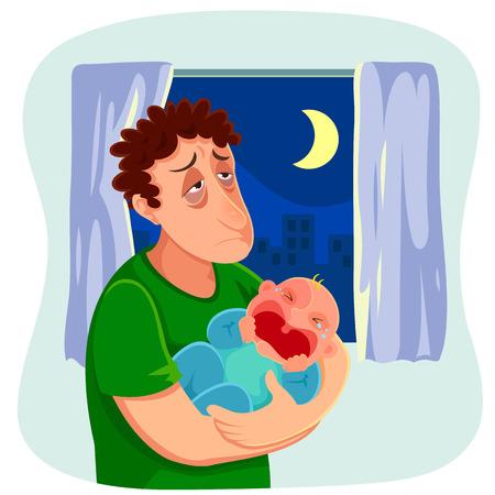 crying boy: padre cansado lleva a un bebé llorando en la noche Vectores