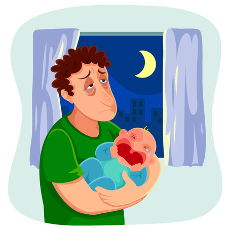 weep: tired father carrying a crying baby at night