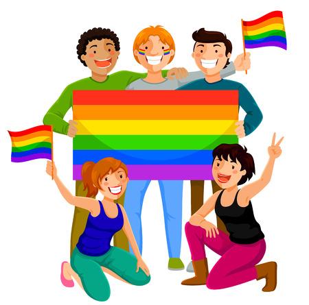 bandera gay: jóvenes felices que sostienen la bandera gay Vectores