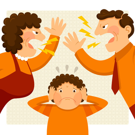 violencia intrafamiliar: hombre y mujer discutiendo en voz alta junto a un chico nervioso Vectores