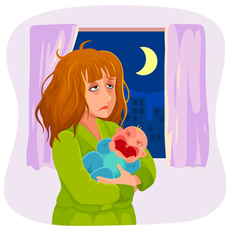 sad cartoon: tired mother carrying a crying baby at night