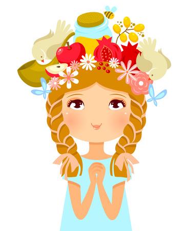shofar: girls head decorated with symbols of Rosh Hashanah Jewish New Year Illustration