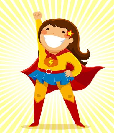英雄的な位置に立っているスーパー ヒーローの衣装の少女