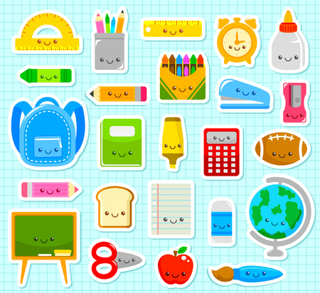 kawaii: collection of cute cartoon school supplies