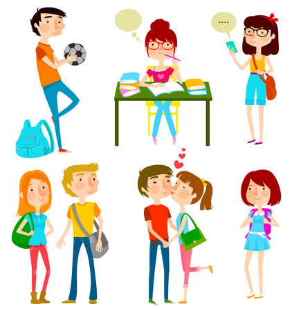 futbol soccer dibujos: colección de adolescentes felices en la escuela