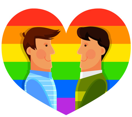 two men smiling at each other over heart shaped gay flag