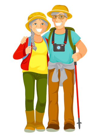 tourist: Happy senior couple traveling together