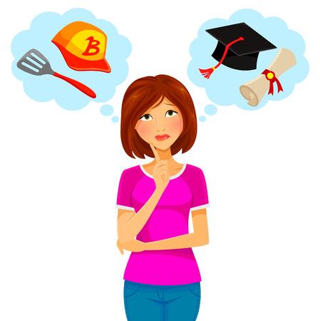 mujer pensando: Mujer preocupada pensando en la universidad y el trabajo a tiempo parcial