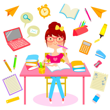 teenage girl surrounded by items related to studying