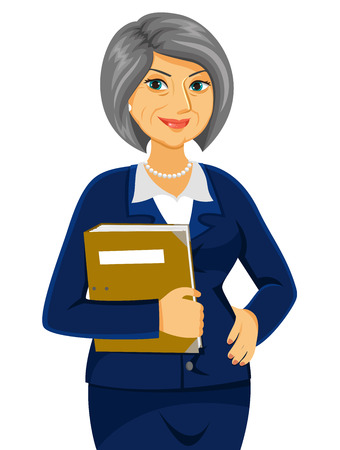 middle age woman: senior business women looking confident Illustration