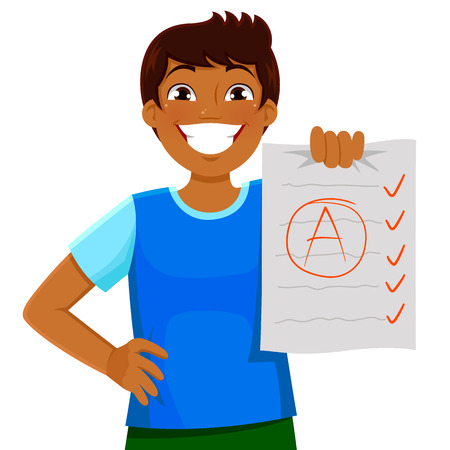 self exam: happy kid presenting a test with a good grade