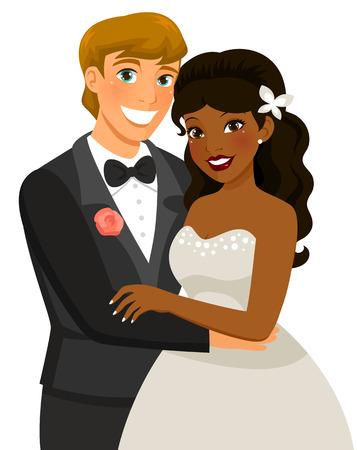 casamento: mestiça casal se casar Ilustração