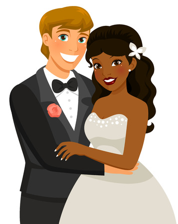 bride and groom illustration: mixed-race couple getting married