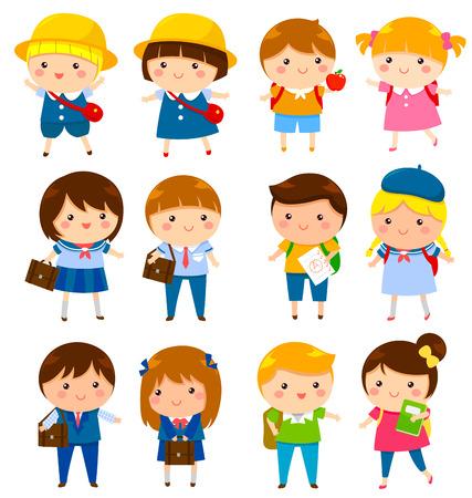 estudiante: niños de la escuela de diferentes edades con y sin uniformes escolares