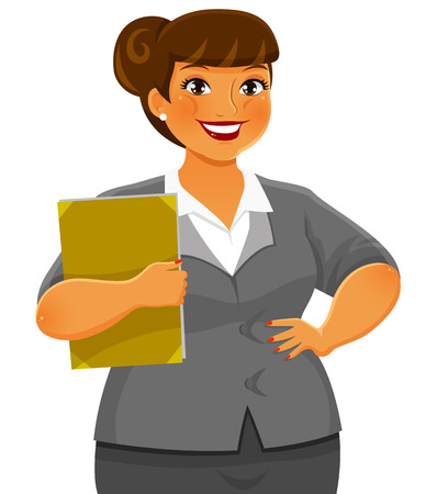 curvy business woman smiling confidently