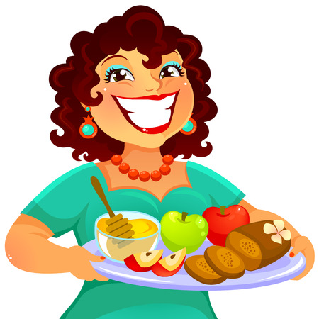 chubby cartoon: cheerful woman carrying foods for Rosh Hashanah