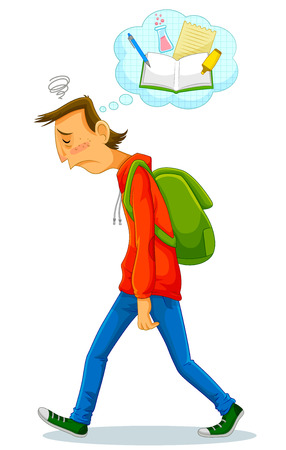 sad cartoon: depressed student walking to school and thinking about studying