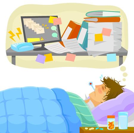 źle: chory człowiek leży w łóżku i myśli o całej pracy, że pali się na biurku