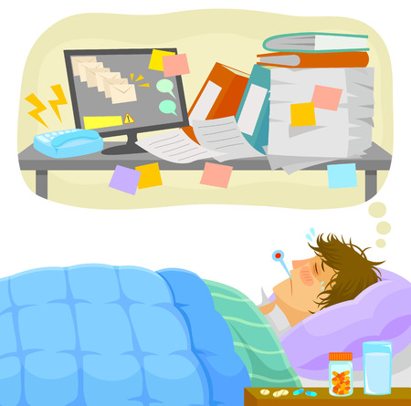 cartoon bed: sick man lying in bed and thinking about all the work that piles up on his desk