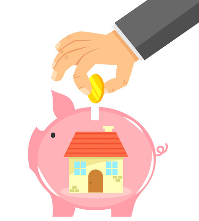 buying: hand dropping coin into a piggybank with a house in it Illustration