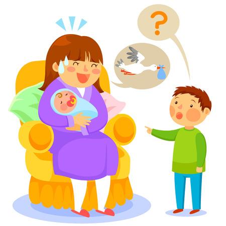 子供が赤ちゃんについて彼の母を尋ねるし、彼女はコウノトリについて告げる  イラスト・ベクター素材