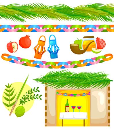 manzana caricatura: conjunto de elementos relacionados con Sucot con tiras sin costura de palma y papel cadena