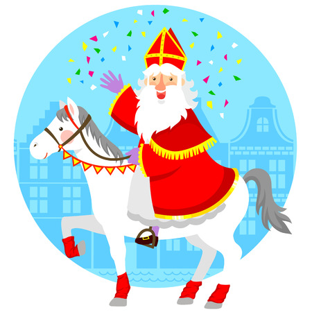 cartoon Sinterklaas St. Nicholas riding his horse. Иллюстрация