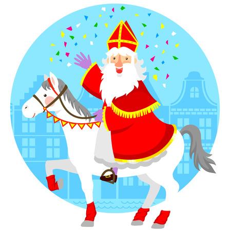 cartoon Sinterklaas St. Nicholas riding his horse. Vettoriali
