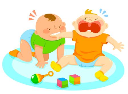 別の赤ちゃんの手をかむこと怒っている赤ちゃん