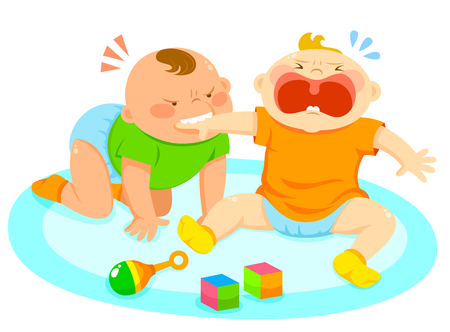 angry baby biting the hand of another baby Stock Vector - 45879456