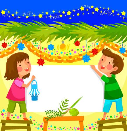 niño y niña: niños que celebran Sucot en una cabina decorada Vectores