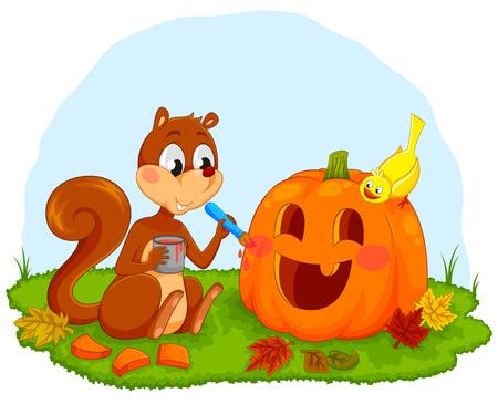 decorating: cartoon squirrel decorating a pumpkin for Halloween