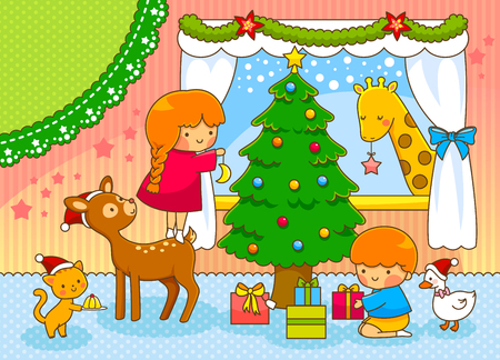 cute cartoons: Christmas card with cute cartoons and space for text