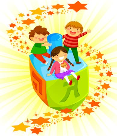 gelukkig kinderen rijden op een grote dreidel op Chanoeka