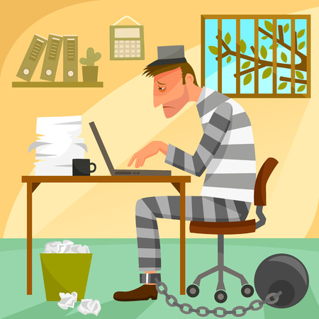 stuck: depressed worker presented as a prisoner in his office. Illustration