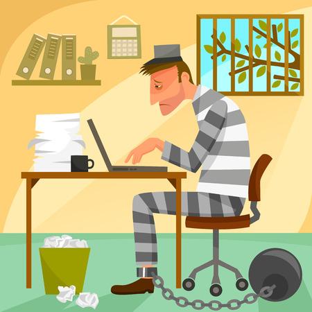 depressed worker presented as a prisoner in his office. Stock Illustratie