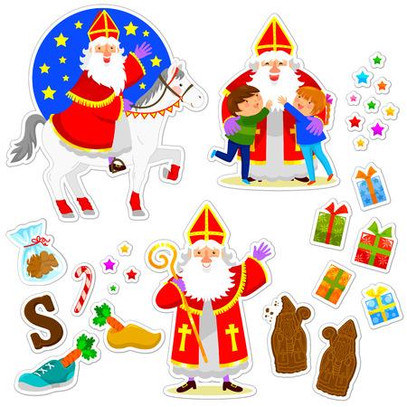 set van cartoons voor de vakantie van Sinterklaas