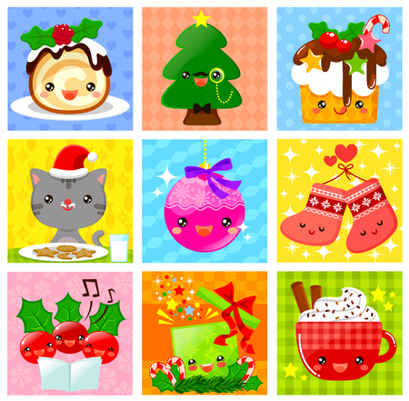 kawaii: collection of cute kawaii style Christmas cartoons Illustration