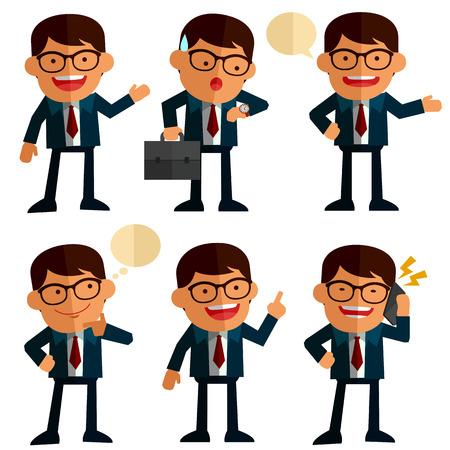juego de los hombres de negocios en diferentes posiciones Vectores