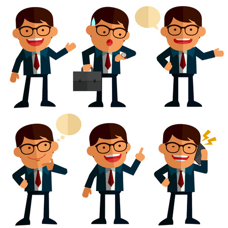 salary man: set of businessmen in different position