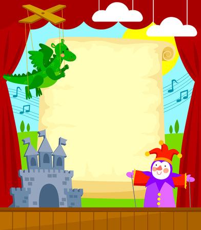 Teatro de marionetas con desplazamiento en blanco para el subtítulo. Cada elemento se agrupa por separado para facilitar la edición. Ilustración de vector