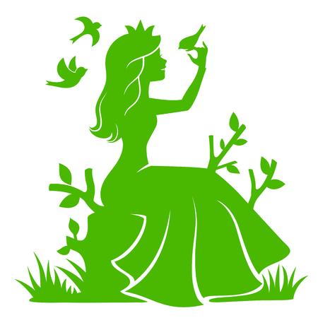 森の中に座っていると、鳥と遊ぶ姫のシルエット