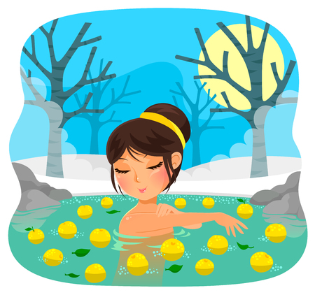 solstice: girl taking a bath with yuzu fruit tradition during the Japanese holiday of winter solstice