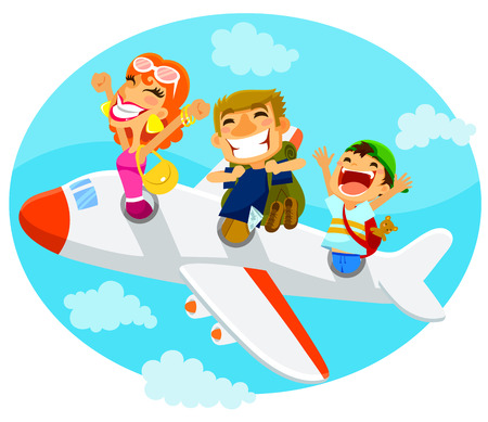 cartoon man: excited travelers flying in an airplane Illustration